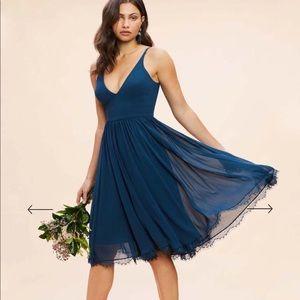NEW • Dress The Population • Alicia Dress Blue Lg